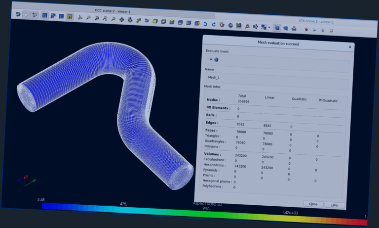 Mesh Evaluation in Salome software | meshed pipe with statistics